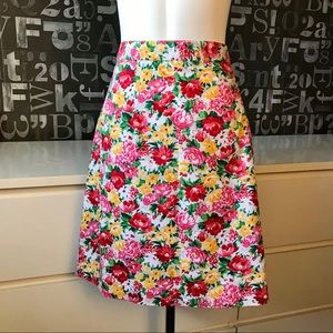 Cotton Floral Skirt w/ Lining.